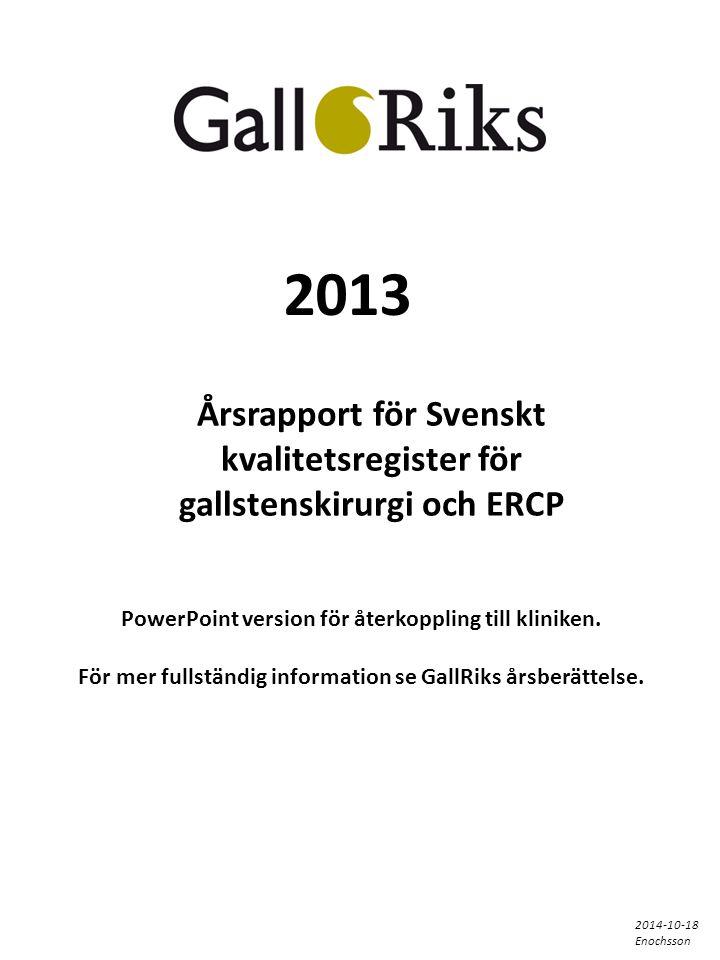 2013 Årsrapport för Svenskt kvalitetsregister för gallstenskirurgi och ERCP PowerPoint version för återkoppling till kliniken.