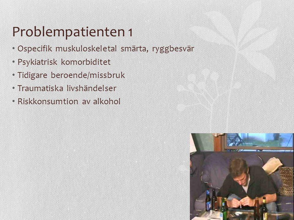 Problempatienten 1 Ospecifik muskuloskeletal smärta, ryggbesvär Psykiatrisk komorbiditet Tidigare beroende/missbruk Traumatiska livshändelser Riskkonsumtion av alkohol