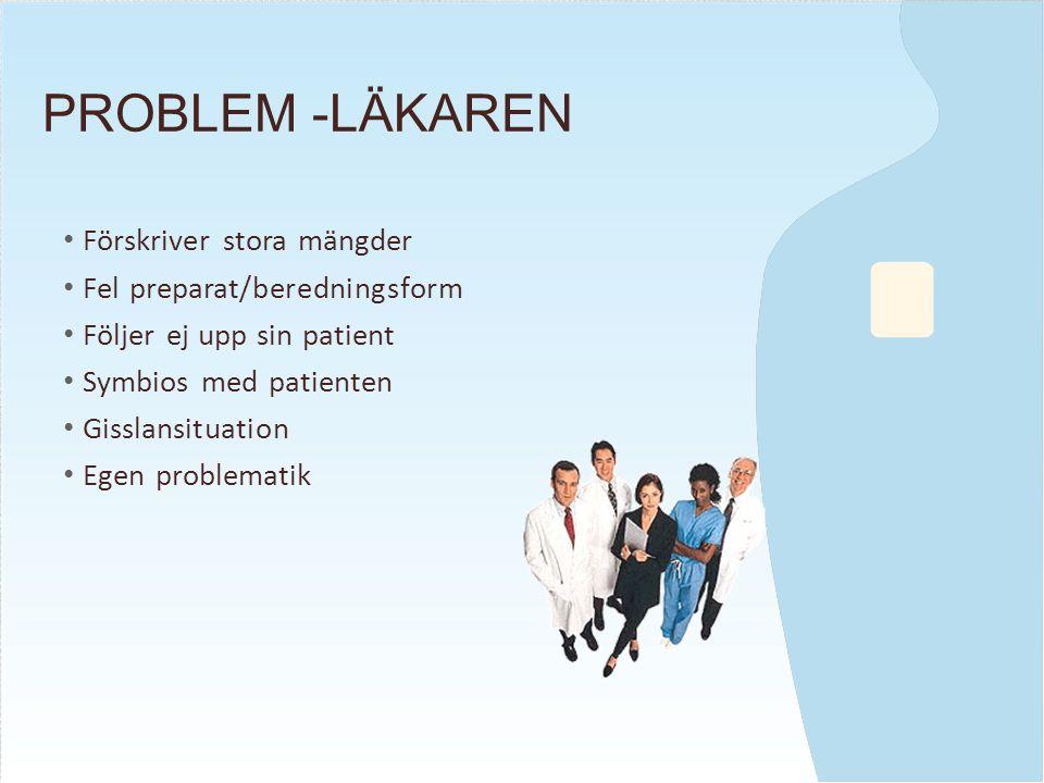 PROBLEM -LÄKAREN Förskriver stora mängder Fel preparat/beredningsform Följer ej upp sin patient Symbios med patienten Gisslansituation Egen problematik