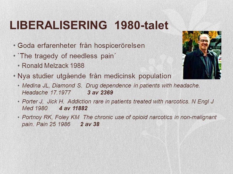 LIBERALISERING 1980-talet Goda erfarenheter från hospicerörelsen `The tragedy of needless pain´ Ronald Melzack 1988 Nya studier utgående från medicinsk population Medina JL, Diamond S.