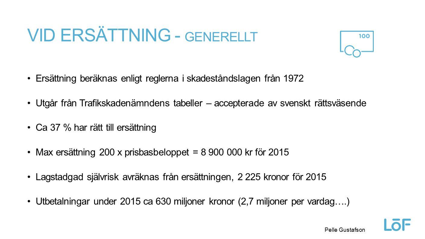 Löf Pelle Gustafson VID ERSÄTTNING - GENERELLT Ersättning beräknas enligt reglerna i skadeståndslagen från 1972 Utgår från Trafikskadenämndens tabelle