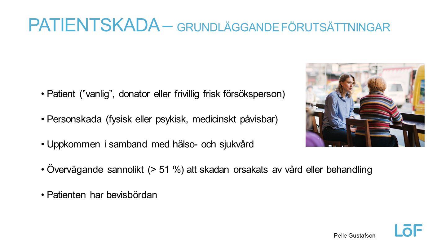 Löf PATIENTSKADELAGENS TEXT Pelle Gustafson // Rätten till patientskadeersättning 6 § Patientskadeersättning lämnas för personskada på patient om det föreligger övervägande sannolikhet för att skadan är orsakad av 1.