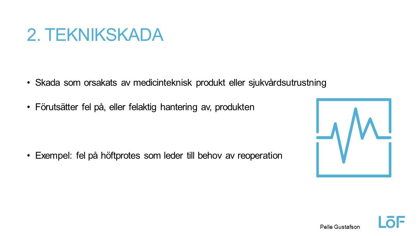 Löf Pelle Gustafson 2. TEKNIKSKADA Skada som orsakats av medicinteknisk produkt eller sjukvårdsutrustning Förutsätter fel på, eller felaktig hantering