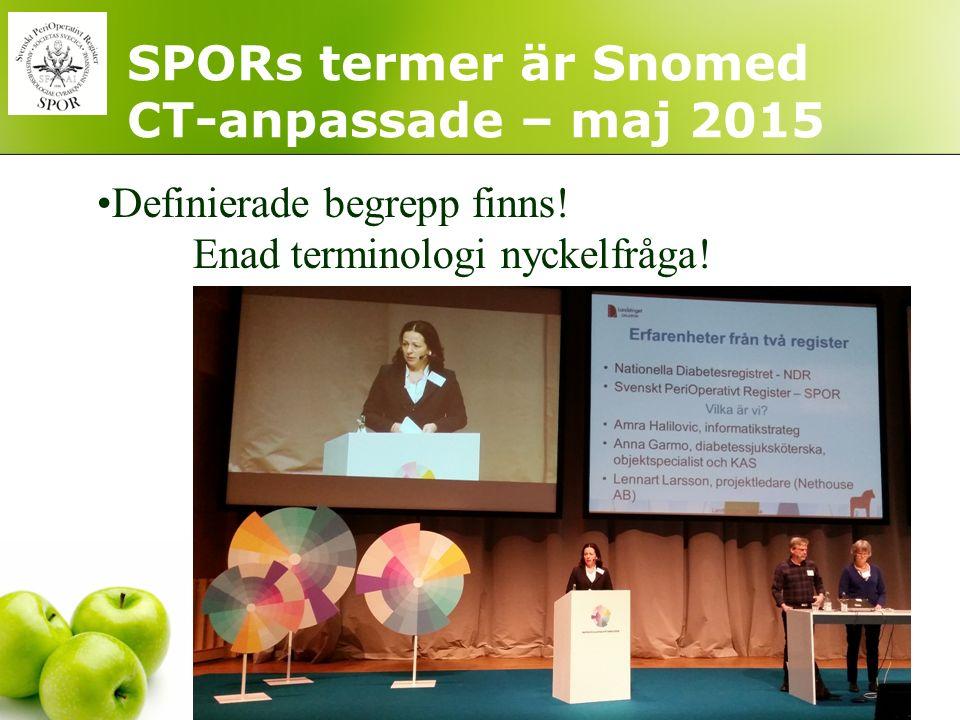 SPORs termer är Snomed CT-anpassade – maj 2015 Definierade begrepp finns! Enad terminologi nyckelfråga!