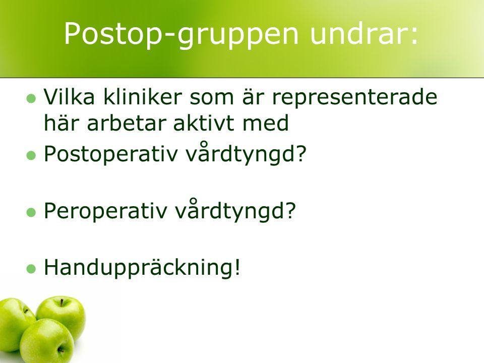 Postop-gruppen undrar: Vilka kliniker som är representerade här arbetar aktivt med Postoperativ vårdtyngd? Peroperativ vårdtyngd? Handuppräckning!