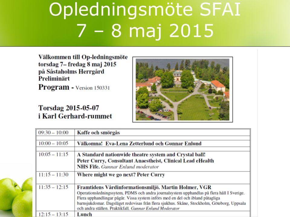 Opledningsmöte SFAI 7 – 8 maj 2015