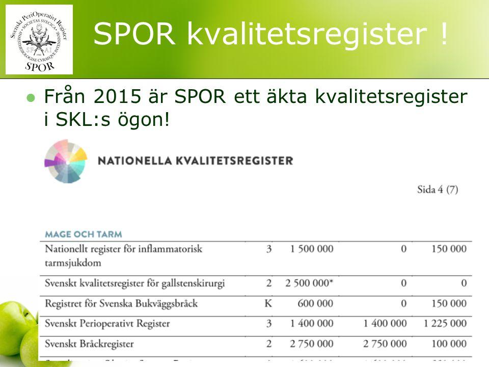 ! SPOR kvalitetsregister ! Från 2015 är SPOR ett äkta kvalitetsregister i SKL:s ögon!