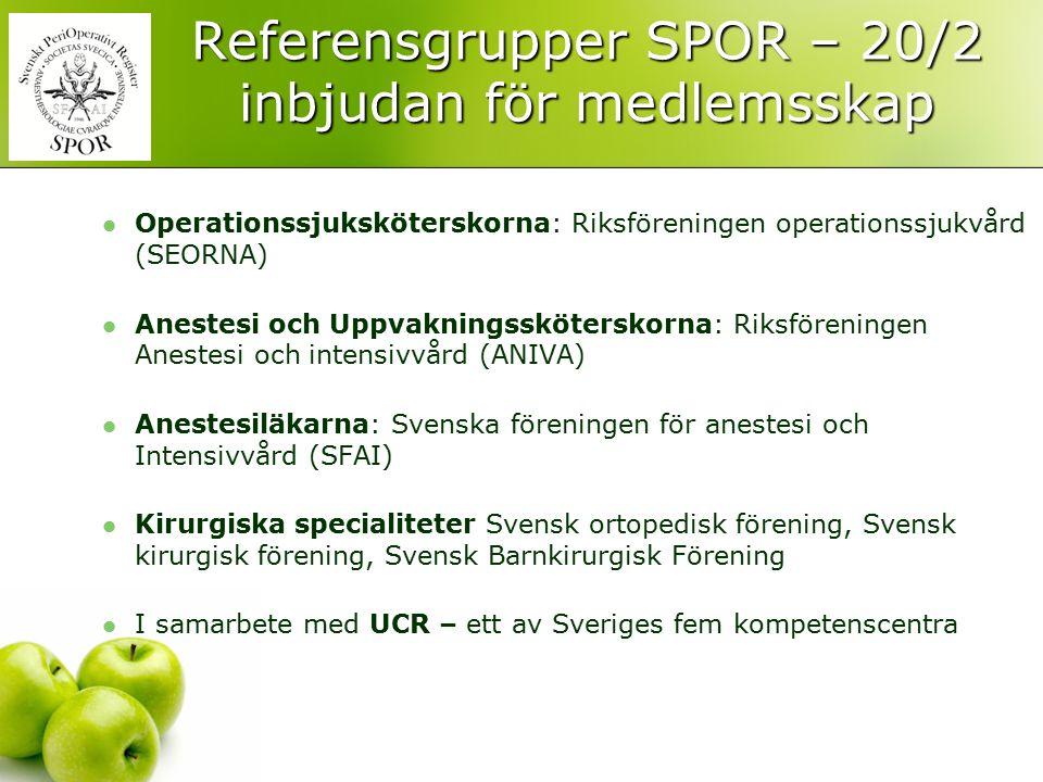 Referensgrupper SPOR – 20/2 inbjudan för medlemsskap Operationssjuksköterskorna: Riksföreningen operationssjukvård (SEORNA) Anestesi och Uppvakningssk