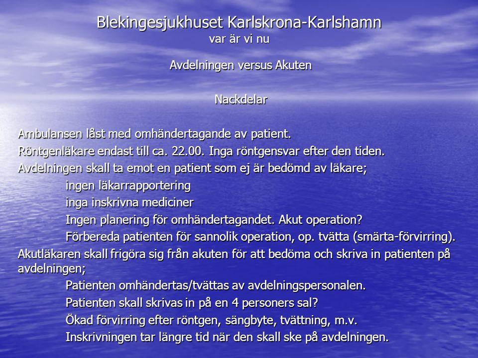 Blekingesjukhuset Karlskrona-Karlshamn var är vi nu Avdelningen versus Akuten Nackdelar Ambulansen låst med omhändertagande av patient. Röntgenläkare