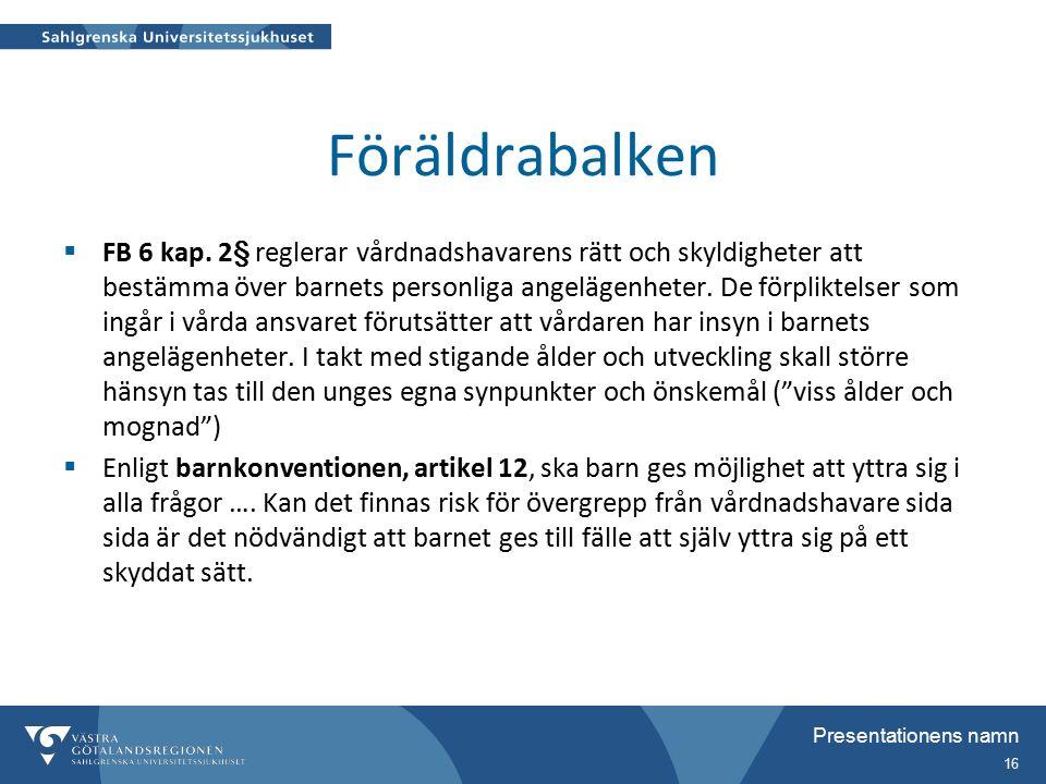 Presentationens namn 16 Föräldrabalken  FB 6 kap.