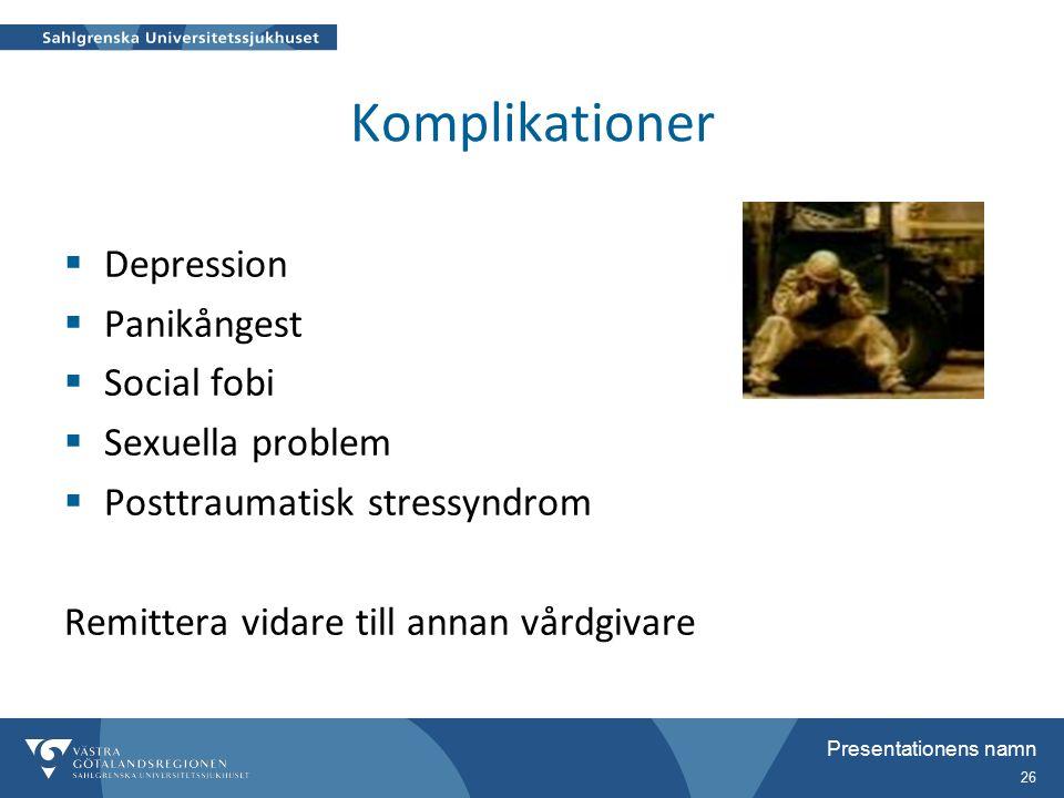 Presentationens namn 26 Komplikationer  Depression  Panikångest  Social fobi  Sexuella problem  Posttraumatisk stressyndrom Remittera vidare till annan vårdgivare