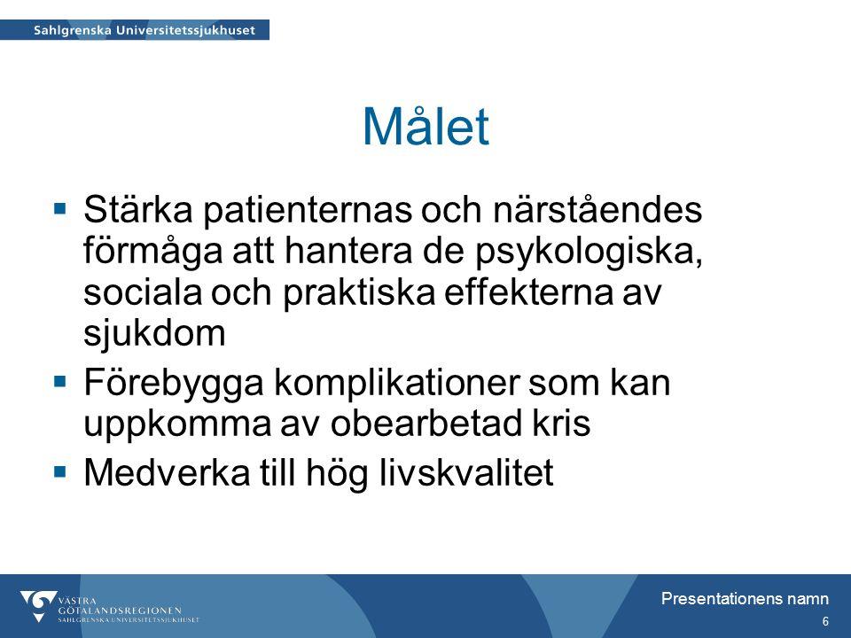 Presentationens namn 6 Målet  Stärka patienternas och närståendes förmåga att hantera de psykologiska, sociala och praktiska effekterna av sjukdom  Förebygga komplikationer som kan uppkomma av obearbetad kris  Medverka till hög livskvalitet