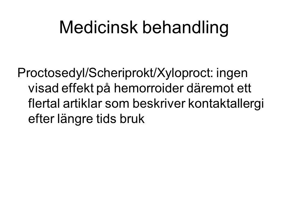 Medicinsk behandling Proctosedyl/Scheriprokt/Xyloproct: ingen visad effekt på hemorroider däremot ett flertal artiklar som beskriver kontaktallergi ef