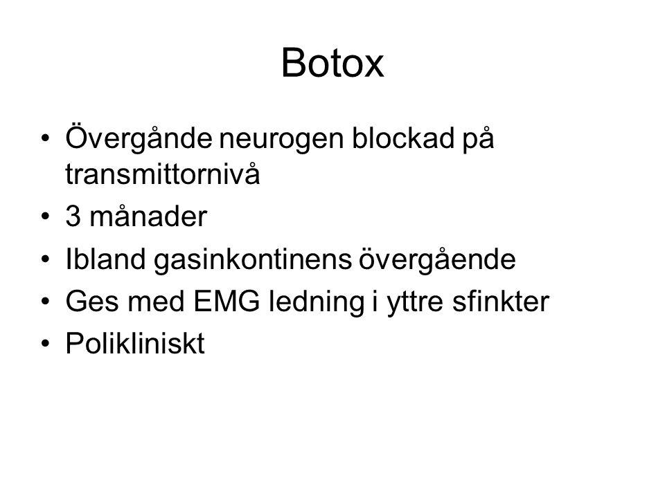 Botox Övergånde neurogen blockad på transmittornivå 3 månader Ibland gasinkontinens övergående Ges med EMG ledning i yttre sfinkter Polikliniskt
