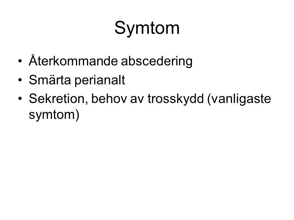 Symtom Återkommande abscedering Smärta perianalt Sekretion, behov av trosskydd (vanligaste symtom)