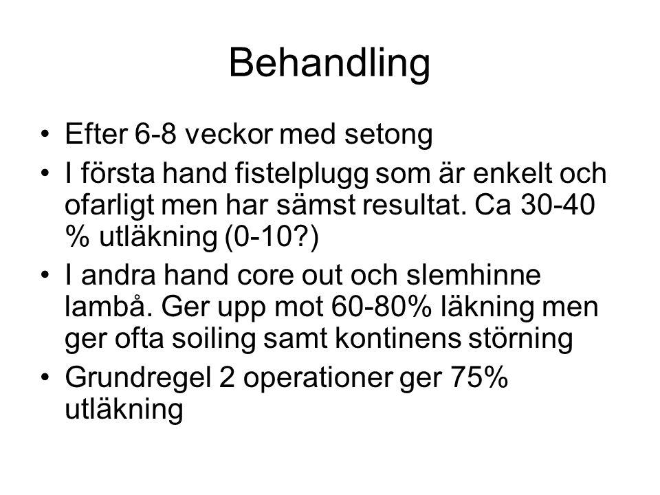 Behandling Efter 6-8 veckor med setong I första hand fistelplugg som är enkelt och ofarligt men har sämst resultat. Ca 30-40 % utläkning (0-10?) I and