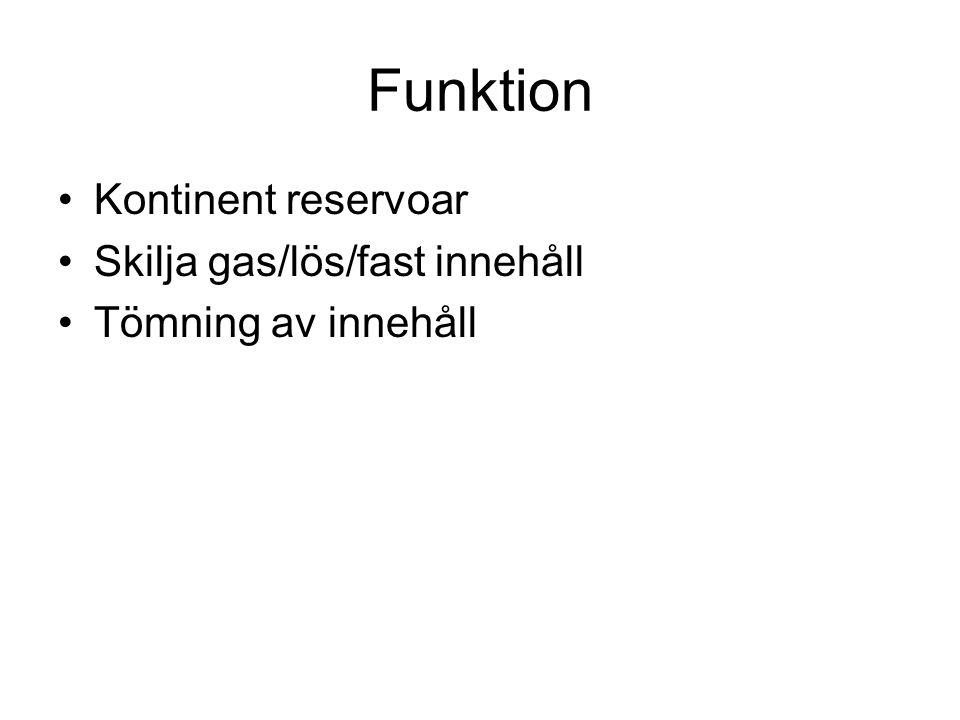 Funktion Kontinent reservoar Skilja gas/lös/fast innehåll Tömning av innehåll