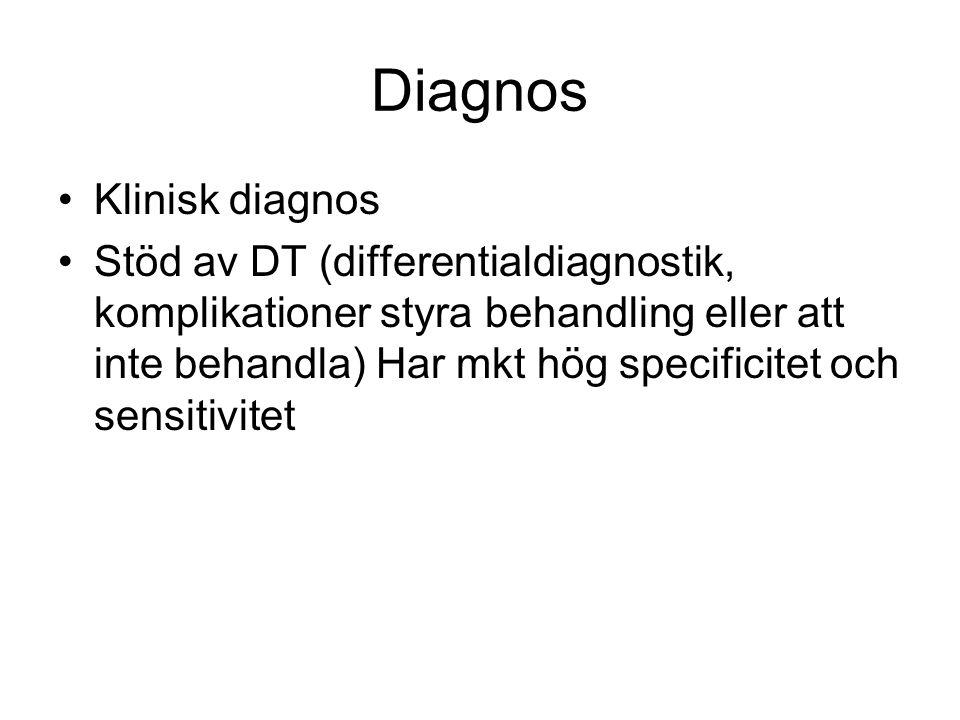 Diagnos Klinisk diagnos Stöd av DT (differentialdiagnostik, komplikationer styra behandling eller att inte behandla) Har mkt hög specificitet och sens