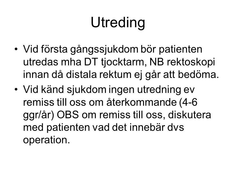 Utreding Vid första gångssjukdom bör patienten utredas mha DT tjocktarm, NB rektoskopi innan då distala rektum ej går att bedöma. Vid känd sjukdom ing