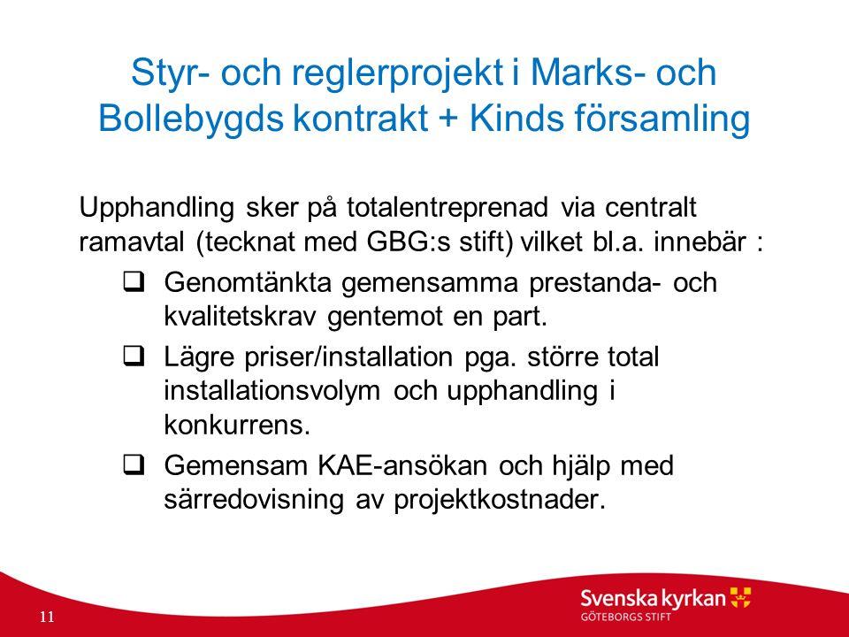 Styr- och reglerprojekt i Marks- och Bollebygds kontrakt + Kinds församling Upphandling sker på totalentreprenad via centralt ramavtal (tecknat med GBG:s stift) vilket bl.a.
