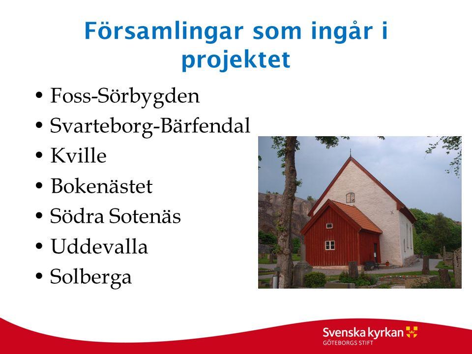 Församlingar som ingår i projektet Foss-Sörbygden Svarteborg-Bärfendal Kville Bokenästet Södra Sotenäs Uddevalla Solberga