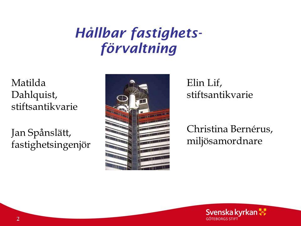 2 Hållbar fastighets- förvaltning Matilda Dahlquist, stiftsantikvarie Elin Lif, stiftsantikvarie Jan Spånslätt, fastighetsingenjör Christina Bernérus, miljösamordnare
