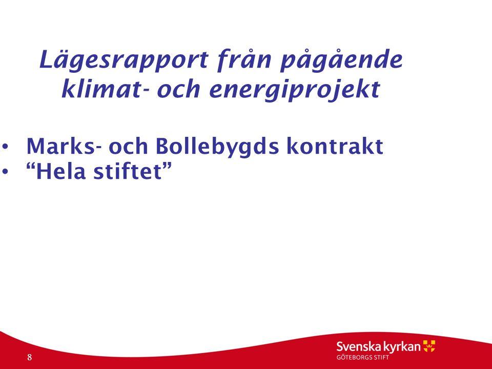 8 Lägesrapport från pågående klimat- och energiprojekt Marks- och Bollebygds kontrakt Hela stiftet