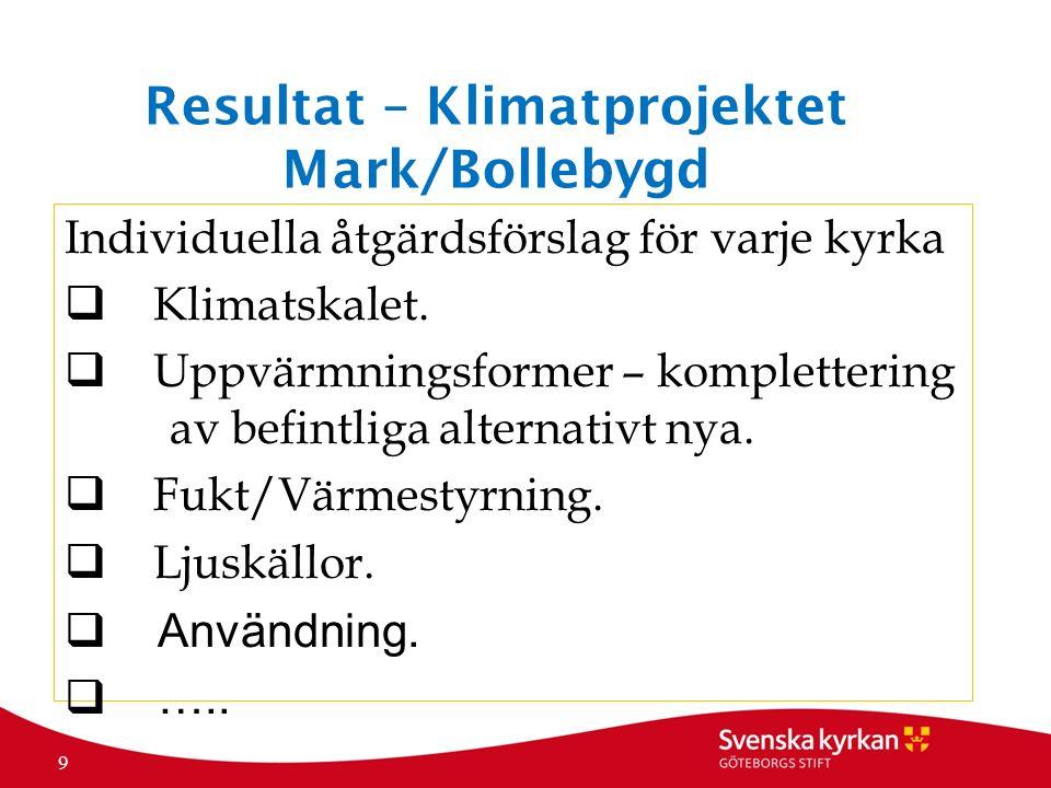 Resultat – Klimatprojektet Mark/Bollebygd Individuella åtgärdsförslag för varje kyrka  Klimatskalet.  Uppvärmningsformer – komplettering av befintli