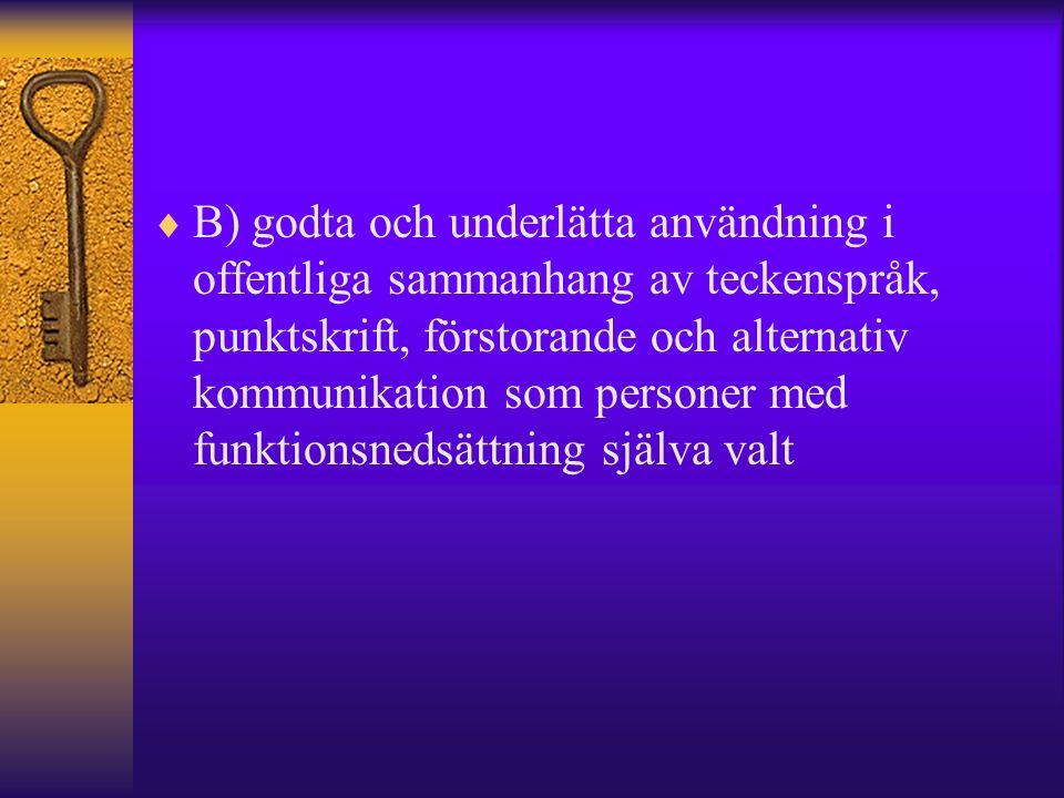  B) godta och underlätta användning i offentliga sammanhang av teckenspråk, punktskrift, förstorande och alternativ kommunikation som personer med funktionsnedsättning själva valt