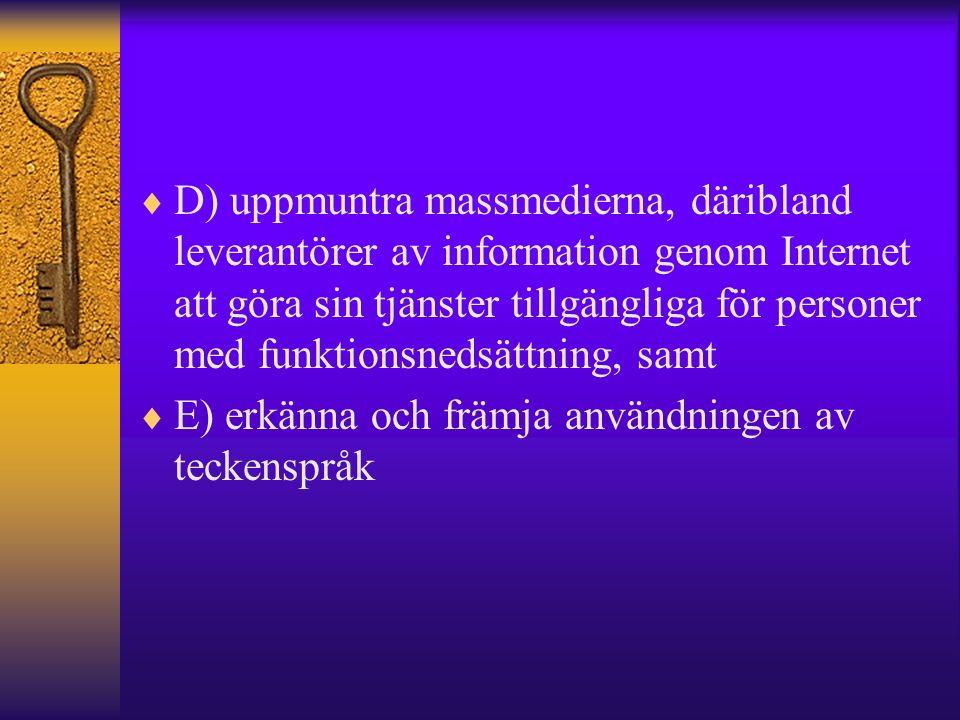  D) uppmuntra massmedierna, däribland leverantörer av information genom Internet att göra sin tjänster tillgängliga för personer med funktionsnedsättning, samt  E) erkänna och främja användningen av teckenspråk