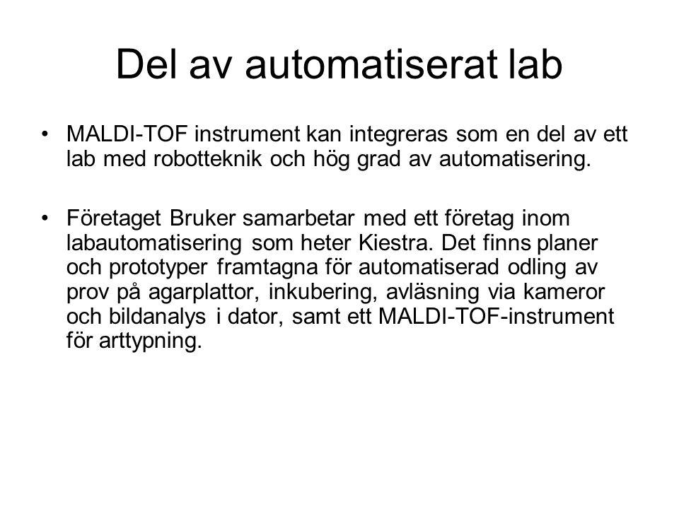 Del av automatiserat lab MALDI-TOF instrument kan integreras som en del av ett lab med robotteknik och hög grad av automatisering. Företaget Bruker sa