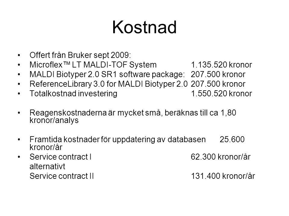 Kostnad Offert från Bruker sept 2009: Microflex™ LT MALDI-TOF System 1.135.520 kronor MALDI Biotyper 2.0 SR1 software package:207.500 kronor Reference