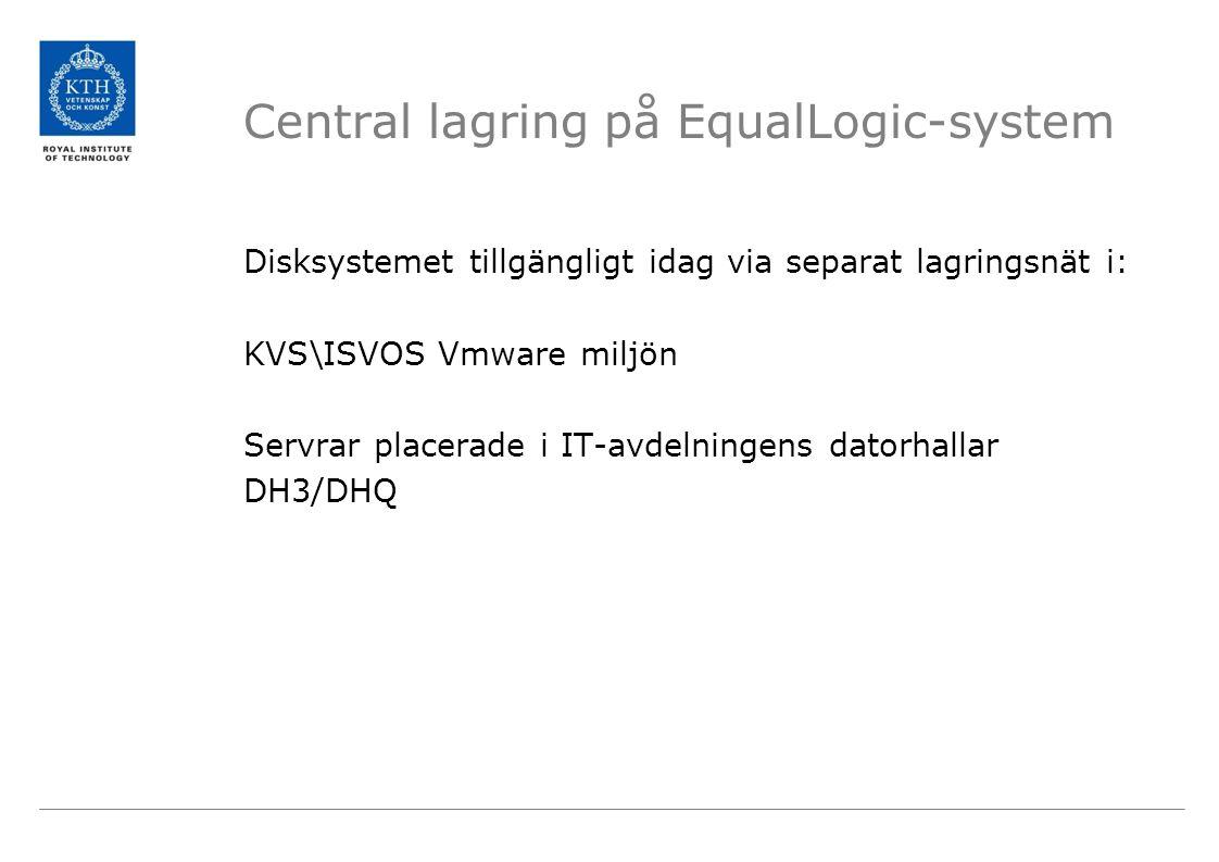 Central lagring på EqualLogic-system Disksystemet tillgängligt idag via separat lagringsnät i: KVS\ISVOS Vmware miljön Servrar placerade i IT-avdelningens datorhallar DH3/DHQ