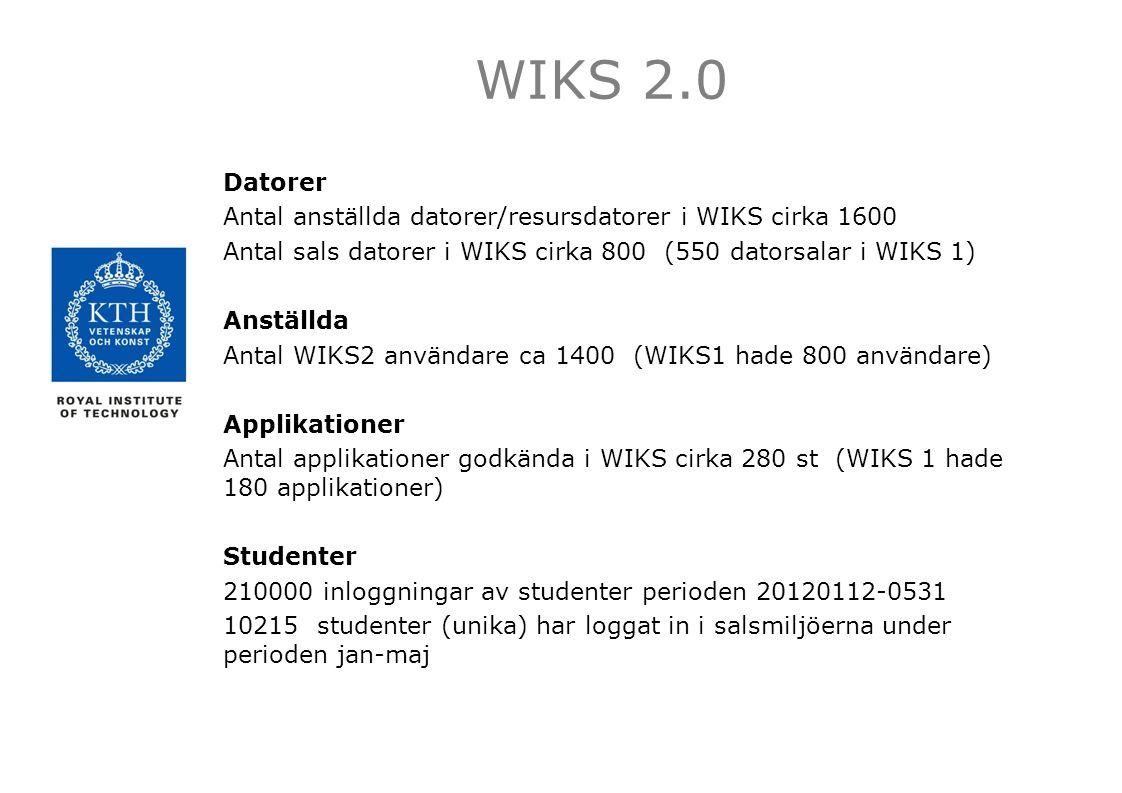Datorer Antal anställda datorer/resursdatorer i WIKS cirka 1600 Antal sals datorer i WIKS cirka 800 (550 datorsalar i WIKS 1) Anställda Antal WIKS2 användare ca 1400 (WIKS1 hade 800 användare) Applikationer Antal applikationer godkända i WIKS cirka 280 st (WIKS 1 hade 180 applikationer) Studenter 210000 inloggningar av studenter perioden 20120112-0531 10215 studenter (unika) har loggat in i salsmiljöerna under perioden jan-maj