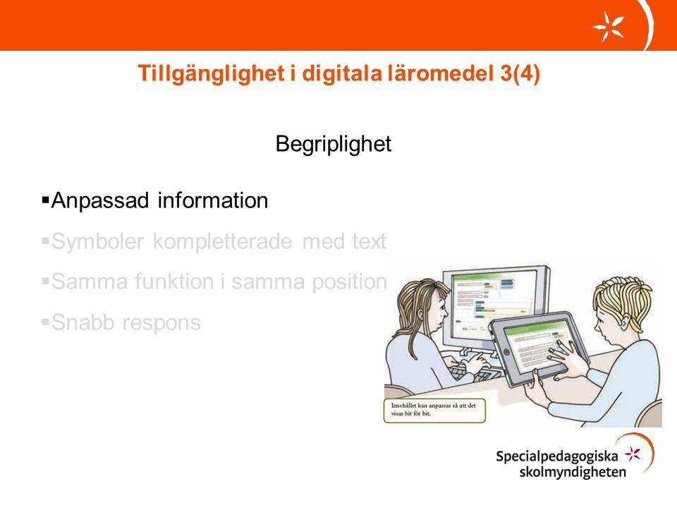 Tillgänglighet i digitala läromedel 3(4) Begriplighet  Anpassad information  Symboler kompletterade med text  Samma funktion i samma position  Snabb respons