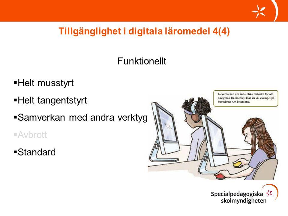 Tillgänglighet i digitala läromedel 4(4) Funktionellt  Helt musstyrt  Helt tangentstyrt  Samverkan med andra verktyg  Avbrott  Standard