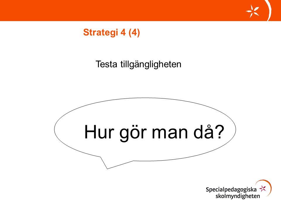 Strategi 4 (4) Testa tillgängligheten Hur gör man då
