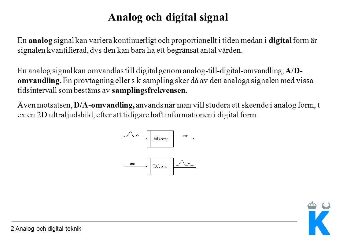 2 Analog och digital teknik Analog och digital signal En analog signal kan variera kontinuerligt och proportionellt i tiden medan i digital form är signalen kvantifierad, dvs den kan bara ha ett begränsat antal värden.
