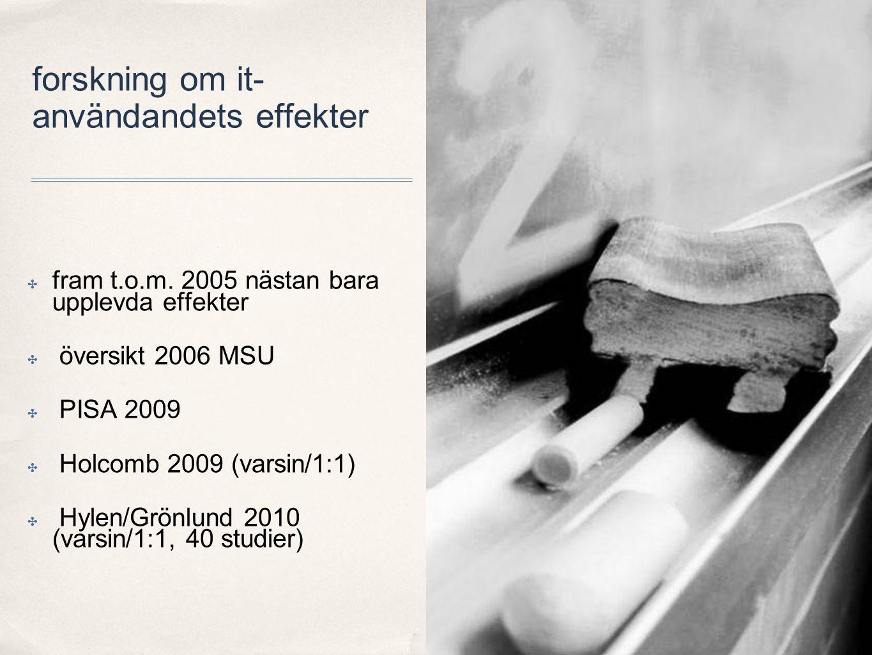 forskning om it- användandets effekter ✤ fram t.o.m. 2005 nästan bara upplevda effekter ✤ översikt 2006 MSU ✤ PISA 2009 ✤ Holcomb 2009 (varsin/1:1) ✤