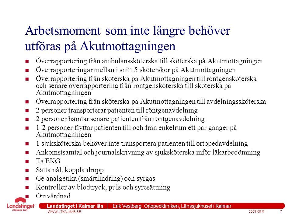 WWW.LTKALMAR.SE Landstinget i Kalmar län Erik Vestberg, Ortopedkliniken, Länssjukhuset i Kalmar 2009-09-018 Effektiviteten på sjukhuset ökade med 32 procent enligt Lean principer