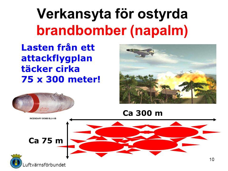 Luftvärnsförbundet 10 Verkansyta för ostyrda brandbomber (napalm) Lasten från ett attackflygplan täcker cirka 75 x 300 meter.