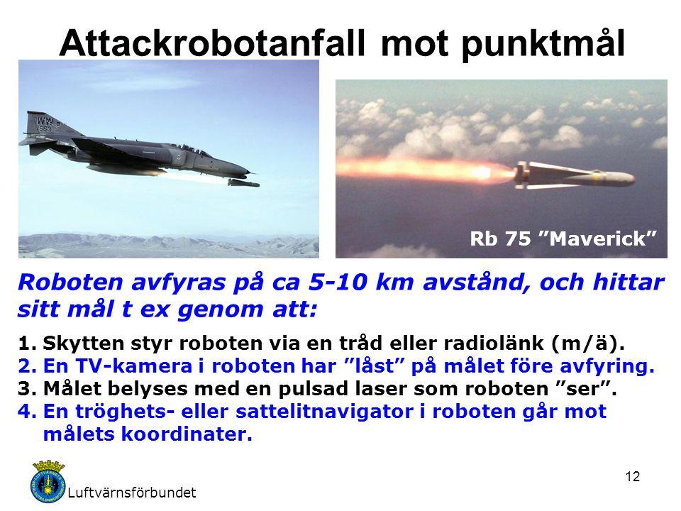 Luftvärnsförbundet 12 Roboten avfyras på ca 5-10 km avstånd, och hittar sitt mål t ex genom att: 1.Skytten styr roboten via en tråd eller radiolänk (m