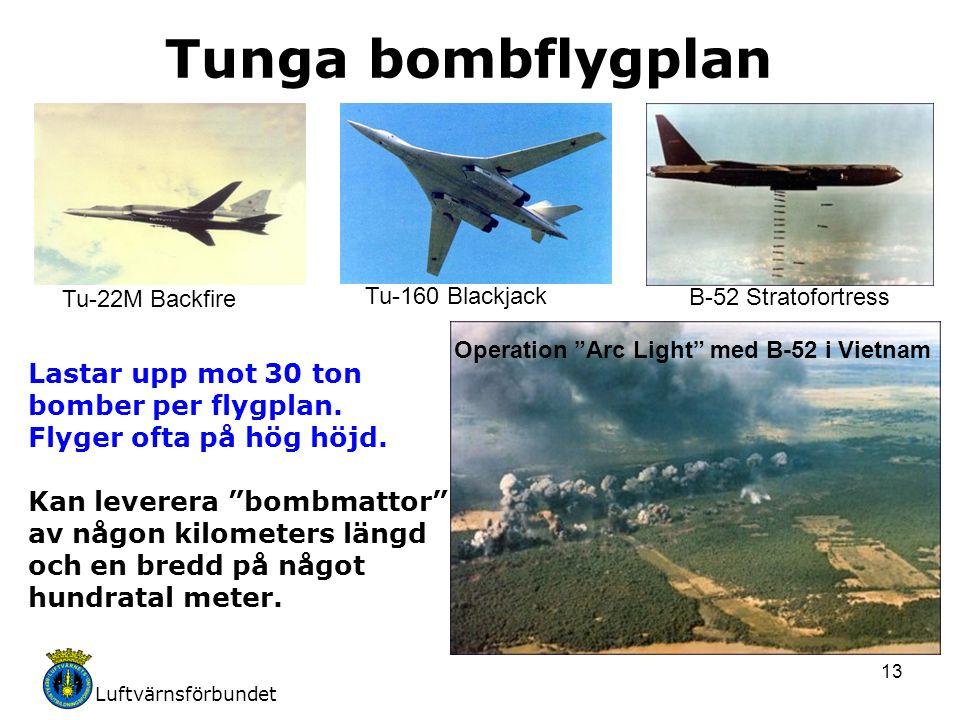 Luftvärnsförbundet 13 Tunga bombflygplan Tu-22M Backfire Tu-160 Blackjack B-52 Stratofortress Lastar upp mot 30 ton bomber per flygplan. Flyger ofta p