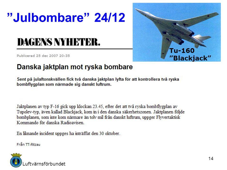 """Luftvärnsförbundet 14 """"Julbombare"""" 24/12 Tu-160 """"Blackjack"""""""