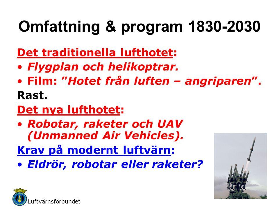 """Luftvärnsförbundet 2 Omfattning & program 1830-2030 Det traditionella lufthotet: Flygplan och helikoptrar. Film: """"Hotet från luften – angriparen"""". Ras"""