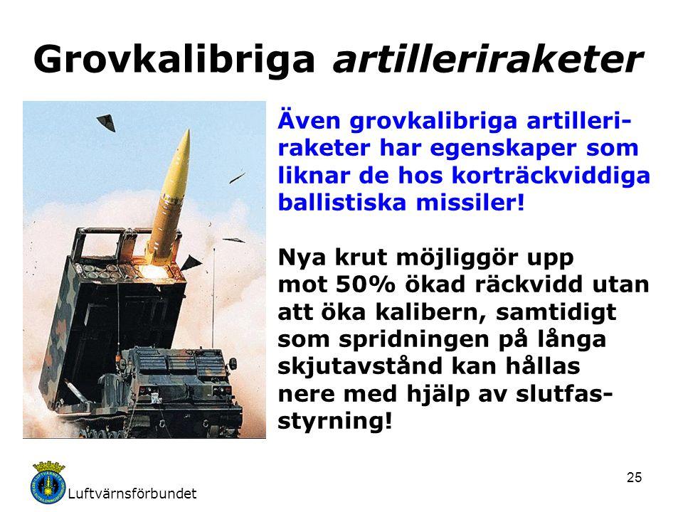 Luftvärnsförbundet 25 Även grovkalibriga artilleri- raketer har egenskaper som liknar de hos korträckviddiga ballistiska missiler.