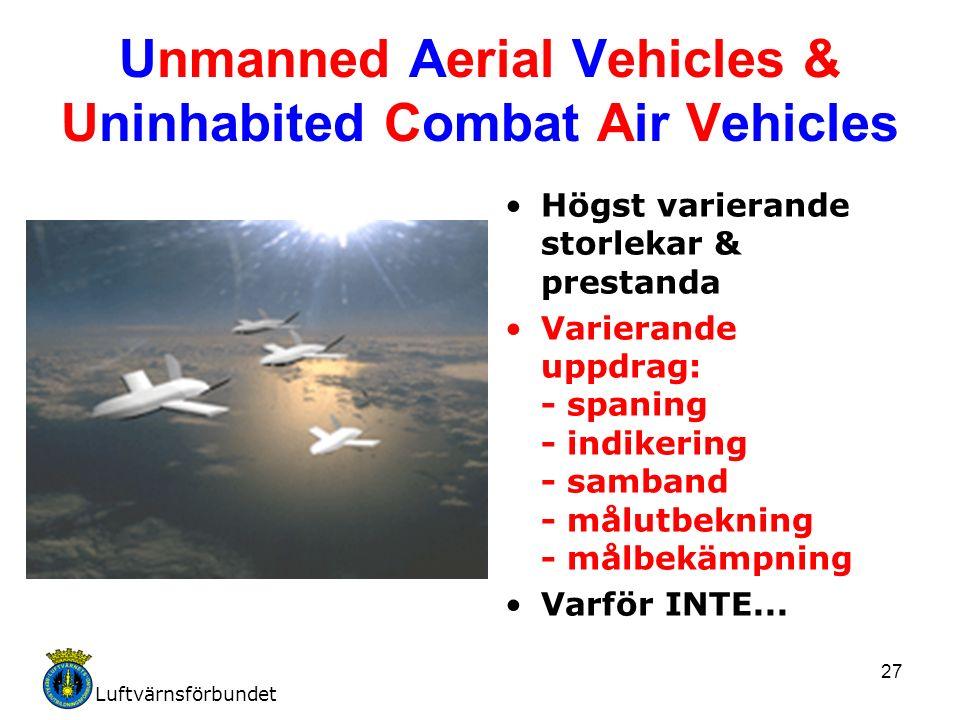 Luftvärnsförbundet 27 Unmanned Aerial Vehicles & Uninhabited Combat Air Vehicles Högst varierande storlekar & prestanda Varierande uppdrag: - spaning - indikering - samband - målutbekning - målbekämpning Varför INTE...
