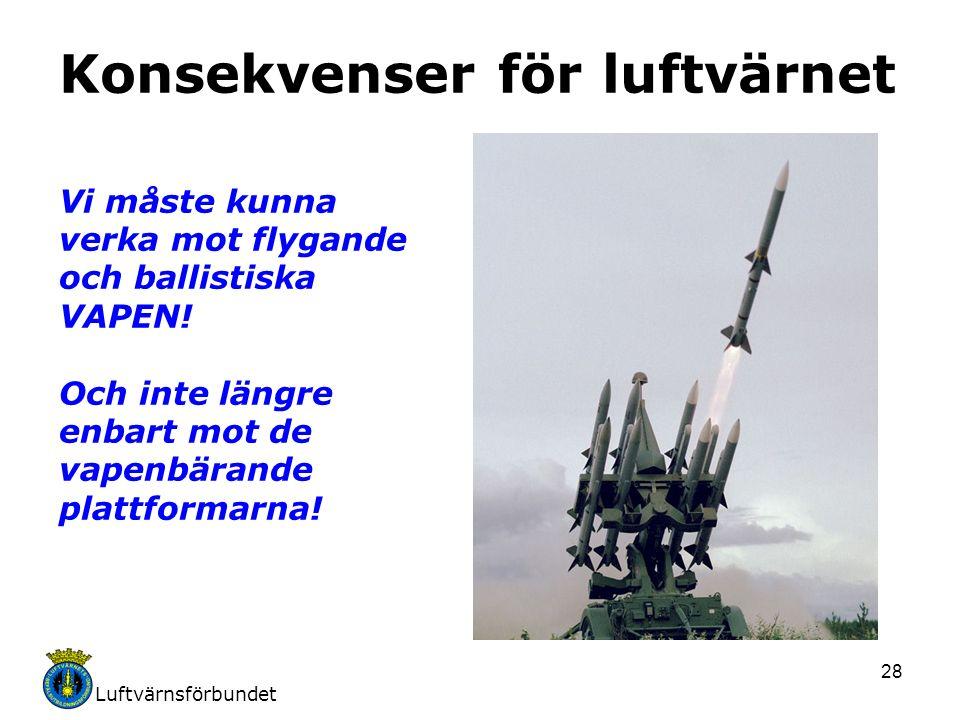 Luftvärnsförbundet 28 Konsekvenser för luftvärnet Vi måste kunna verka mot flygande och ballistiska VAPEN! Och inte längre enbart mot de vapenbärande