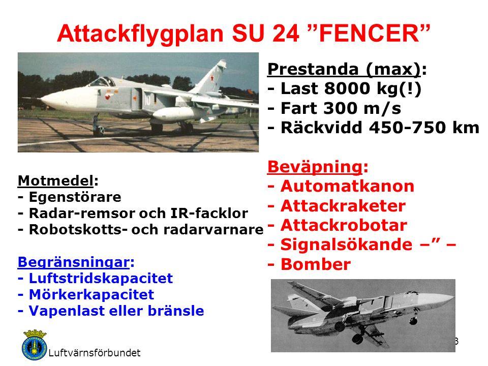 Luftvärnsförbundet 3 Attackflygplan SU 24 FENCER Motmedel: - Egenstörare - Radar-remsor och IR-facklor - Robotskotts- och radarvarnare Begränsningar: - Luftstridskapacitet - Mörkerkapacitet - Vapenlast eller bränsle Prestanda (max): - Last 8000 kg(!) - Fart 300 m/s - Räckvidd 450-750 km Beväpning: - Automatkanon - Attackraketer - Attackrobotar - Signalsökande – – - Bomber