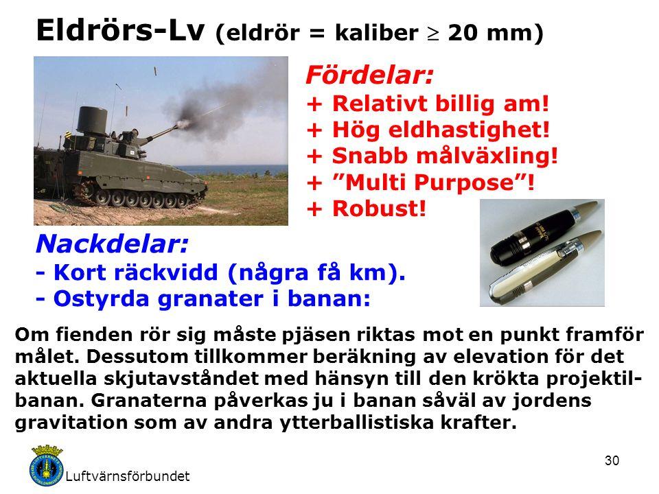 Luftvärnsförbundet 30 Eldrörs-Lv (eldrör = kaliber  20 mm) Fördelar: + Relativt billig am.